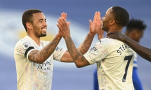 Gabriel Jesus and Raheem Sterling celebrate the second goal.