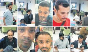 Some of a group of Saudi citizens that Turkish police suspect of being involved in the disappearance of Khashoggi, at Istanbul's Ataturk airport on 2 October.