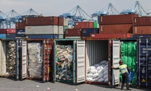 Plastic waste inside cargo containers in Port Klang, Malaysia, to be sent back to its country of origin.