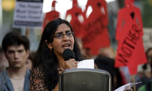 Seattle councilwoman Kshama Sawant speaks during a protest against family separation at the border and other immigration-related issues on 1 August.