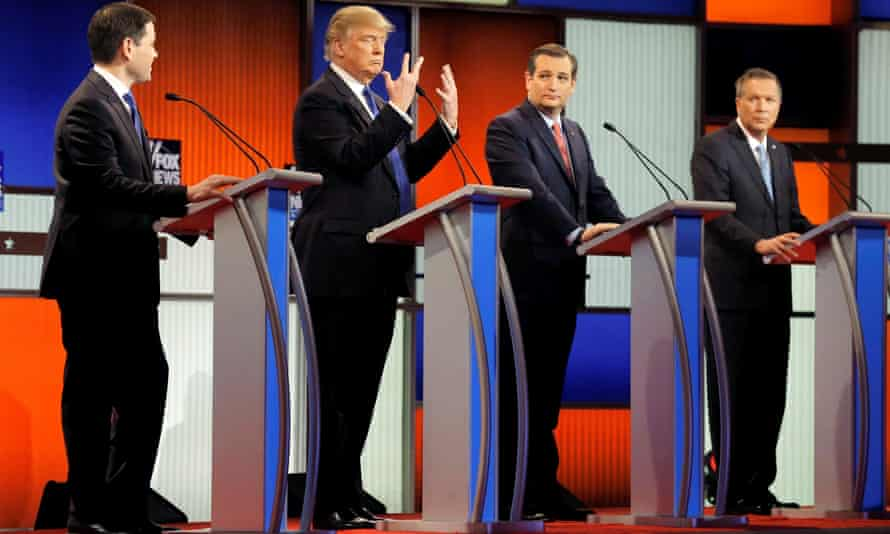 Trump and the former Republican presidential candidates debate in Detroit on 3 March 2016.