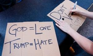 trump religion protest