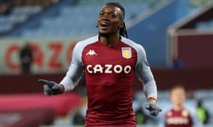 FBL-ENG-PR-ASTON VILLA-NEWCASTLEAston Villa's striker Bertrand Traore celebrates after scoring their second goal during the English Premier League football match between Aston Villa and Newcastle United at Villa Park in Birmingham, central England on January 23, 2021. (Photo by Clive Brunskill / POOL / AFP) / RESTRICTED TO EDITORIAL USE. No use with unauthorized audio, video, data, fixture lists, club/league logos or 'live' services. Online in-match use limited to 120 images. An additional 40 images may be used in extra time. No video emulation. Social media in-match use limited to 120 images. An additional 40 images may be used in extra time. No use in betting publications, games or single club/league/player publications. / (Photo by CLIVE BRUNSKILL/POOL/AFP via Getty Images)