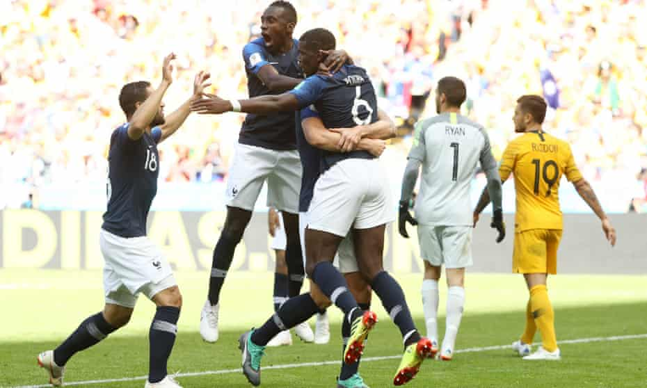 Paul Pogba is congratulated on scoring France's winner against Australia, given by the technology