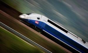 high-speed TGV train of the Rhone-Alpes line near Macon