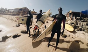 Surfers at Virage beach in Dakar, Senegal: 'Africa has killer surf,' says Yodit Eklund, Bantu Wax's founder.