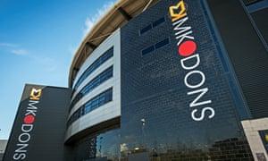 The MK Dons stadium is built from black granite
