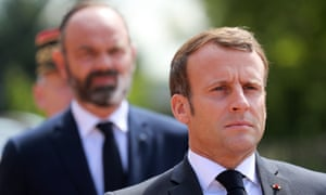 Macron and Philippe attending a second world war memorial in Suresnes, west of Paris, this week.