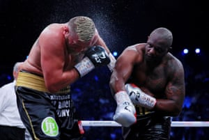 Dillian Whyte lands a big right during his victory over Mariusz Wach.