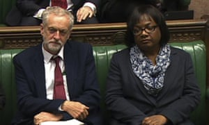 Diane Abbott on the Labour frontbench with Jeremy Corbyn.