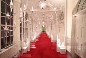 The East Colonnade is decorated for Christmas at the White House December 2, 2019 in Washington, DC.