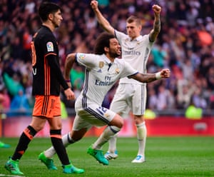 Marcelo celebrates scoring the second for Real.