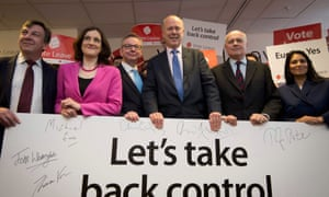 British politicians John Whittingdale, Theresa Villiers, Michael Gove, Chris Grayling, Iain Duncan Smith and Priti Patel pose for a photograph at the launch of the Vote Leave campaign, at the group's headquarters in central London.
