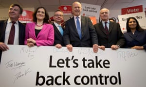 John Whittingdale, Theresa Villiers, Michael Gove, Chris Grayling, Iain Duncan Smith and Priti Patel pose for a photograph at the launch of the Vote Leave campaign.