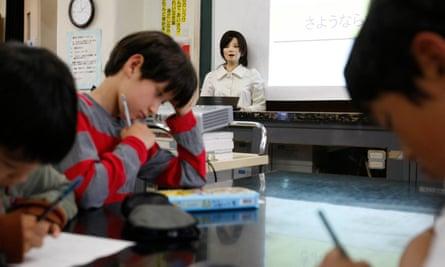 A humanoid robot named Saya in the classroom