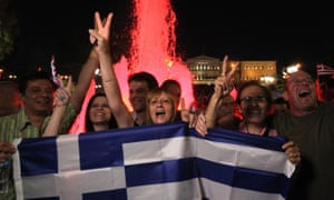 Cheering crowd with Greek flag, Syntagma Square, Athens, 5 July 2015