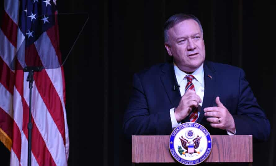 Mike Pompeo speaks from a rostrum