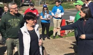 NSW premier Gladys Berejikian tries to engage voters on Saturday.