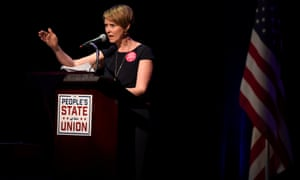 Cynthia Nixon speaks during the 'People's State of the Union' event in Manhattan on 29 January.