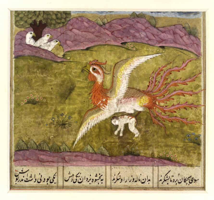 The Simurgh, a benevolent Persian mythological creature, carrying Zal to her nest. From Shah Namah (or Shahnameh), the Book of Kings, a 10th century epic by Persian poet Ferdowsi, circa 940-1020.