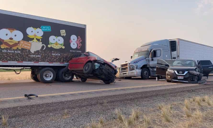 The 20-car pileup in Utah in which at least eight people were killed.