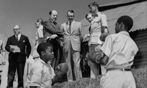 British colonial secretary Iain Macleod (centre left) attends a reception in Rurungu, Kenya, on a fact-finding tour in 1959.