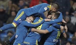 Celta Vigo players celebrate.