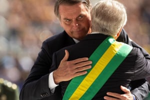 President Bolsonaro greets his predecessor, Michel Temer, before receiving from him the presidential band during his inauguration ceremony at the Congress in Brasilia, Brazil on 1 January