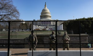 Members of the National Guard outside of the US Capitol building in Washington, DC.
