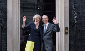 Theresa May and husband, Philip, outside Number 10 at the start of her premiership, July 2016