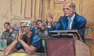 Jeffrey Epstein, left, looks on during a bail hearing, in a 15 July court sketch.