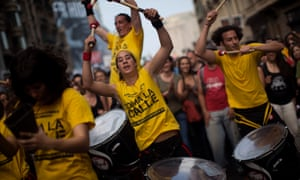 May 2012: demonstrators in Barcelona mark the anniversary of the beginning of the 'indignados' movement in Spain.