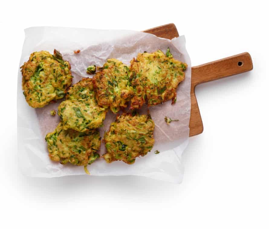Felicity Cloake's courgette fritters 6L finished and fried.