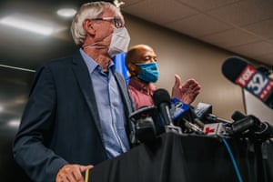 Wisconsin governor Tony Evers (L) and lieutenant governor Mandela Barnes at a news conference in Kenosha last month.