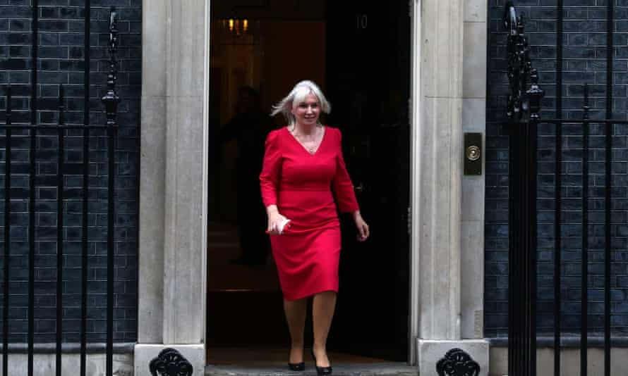Nadine Dorries leaving 10 Downing Street after her appointment on Wednesday