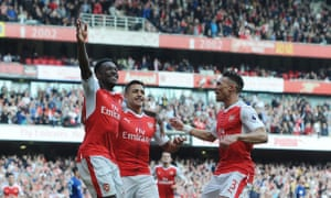 Danny Welbeck, left, enjoys scoring against his old club at the Emirates.