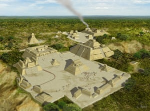 Vista idealizada de Holmul en la fase final del period Clasico (diseno de J. Gonzalez cortesia de PACUNAM). Reconstructed view of Holmul in the final phase of the Classic Period. (image by J. Gonzalez, PACUNAM).