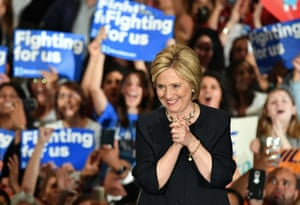 Democratic presidential candidate Hillary Clinton reacts after being introduced at a rally in San Jose, California.