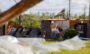A home sits in ruins after damaga caused by two powerful tornadoes that swept through Soso, Mississippi.
