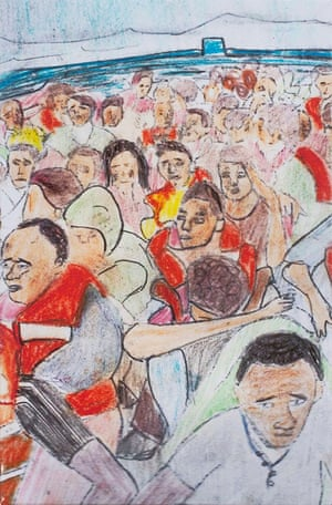 A painting by a young refugee called Journey by Boat, showing refugees crossing the Mediterranean in 2016.