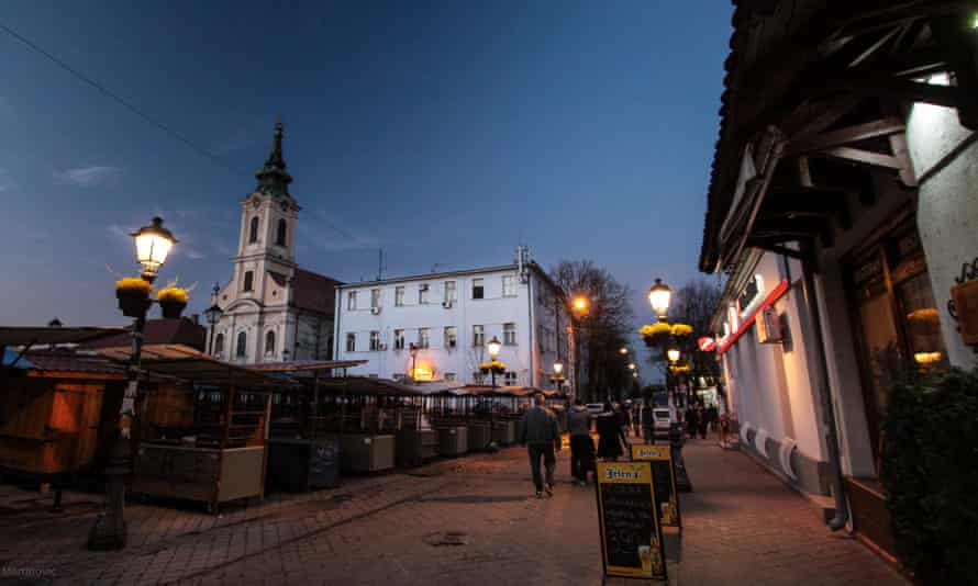 Belgrade city centre at night.