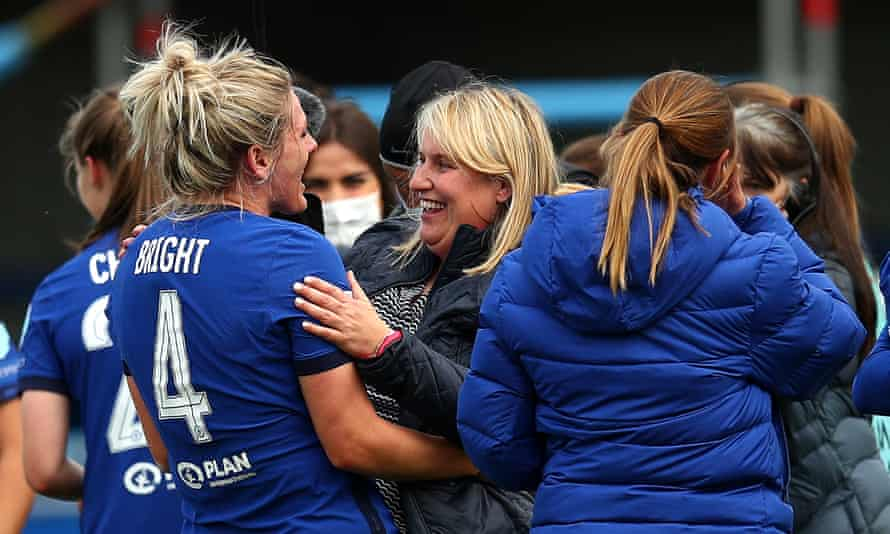 Chelsea's Emma Hayes (centre), pictured after victory over Bayern Munich last weekend, hosts Reading in her side's final home game of the season on Sunday.