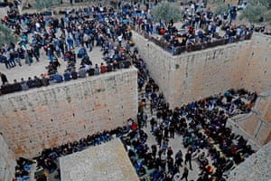 Jerusalem: Worshippers gather before Friday noon prayers at the Golden Gate in the al-Aqsa mosque compound in the Old City. Jerusalem's grand mufti reportedly opened a gate leading to the site that was previously closed by Israeli authorities