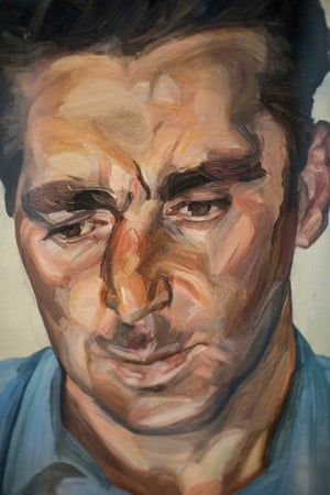 Detail of Man in a Blue Shirt by Lucian Freud