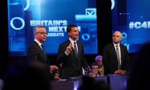 Michael Gove, Jeremy Hunt and Sajid Javid during the leadership debate on Channel 4