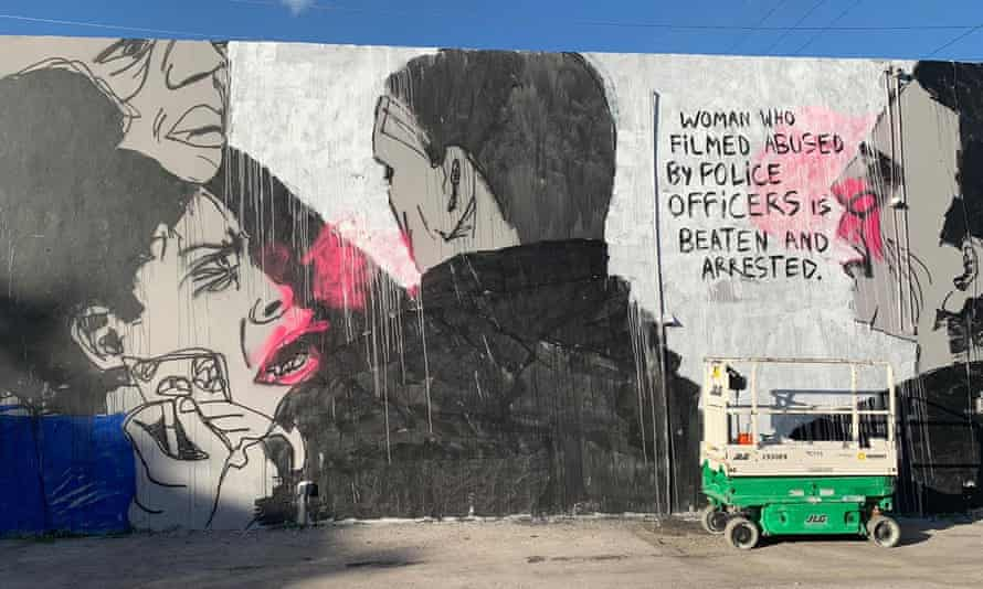 The mural by the Brazilian artist Panmela Castro which was removed from the wall of the events space.