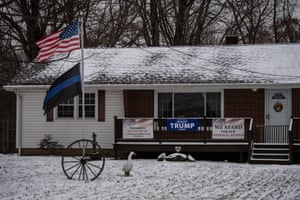 A home with posters in support of President Trump is seen along Salt Springs Rd near the General Motors plant in Lordstown village.