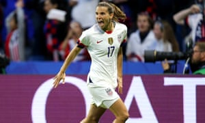 Tobin Heath of the USA celebrates after scoring her team's second goal.