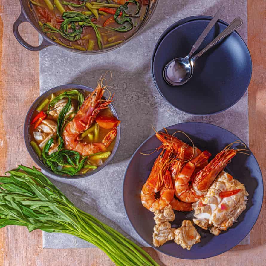 Seafood sinigang. Food styling: Henrietta Clancy.