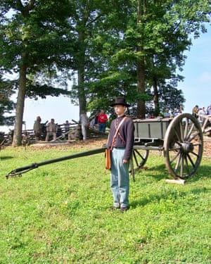A union soldier and cannon limber during a 2007 civil war enactment at the Mill Springs Battlefield.